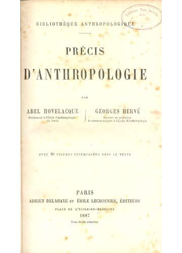 Précis D'Anthropologie