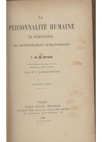 La Personalité Humaine - Com Ex-Libros do Dr. A. C. Pacheco e Lima