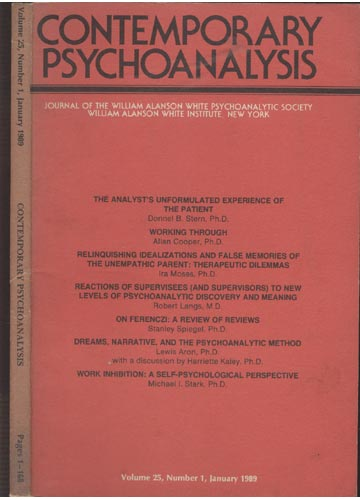 Contemporary Psychoanalysis - Volume 25 - Number 1 - January 1989