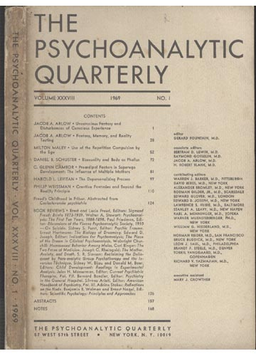 The Psychoanalytic Quarterly - Volume XXXVIII - Nº 1 - 1969