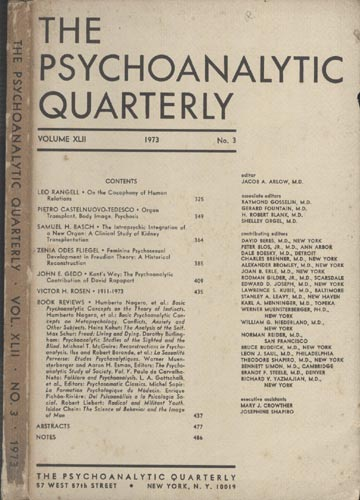 The Psychoanalytic Quarterly - Volume XLII - Nº 3 - 1973