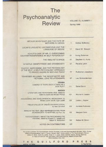 The Psychoanalytic Review - Volume 73 - 1986