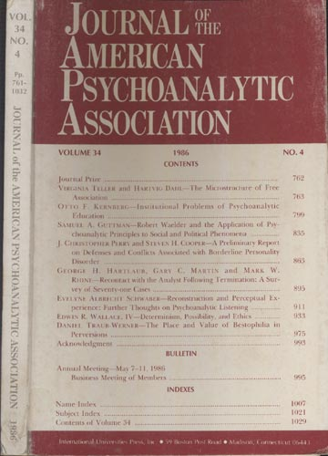 Journal of the American Psychoanalytic Association - Volume 34 - Nº 4 - 1986
