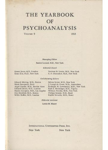 The Yearbook of Psychoanalysis - Volume IX