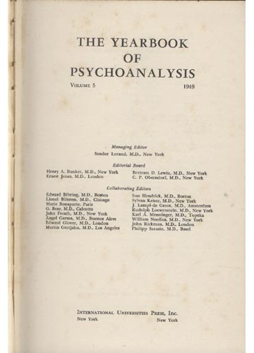 The Yearbook of Psychoanalysis - Volume V