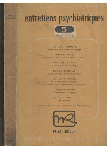 Entretiens Psychiatriques - Volume 5