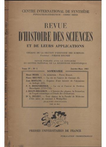 Revue D'Histoire des Sciences - Tome IV - Fase 1 - Janvier-Mars 1951