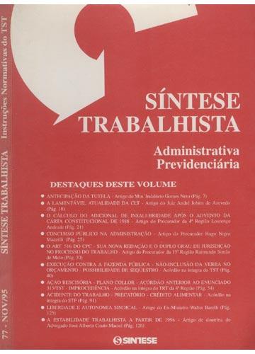 Síntese Trabalhista - Instruções Normativas do TST - Ano VI - Nº.77 - Novembro de 1995