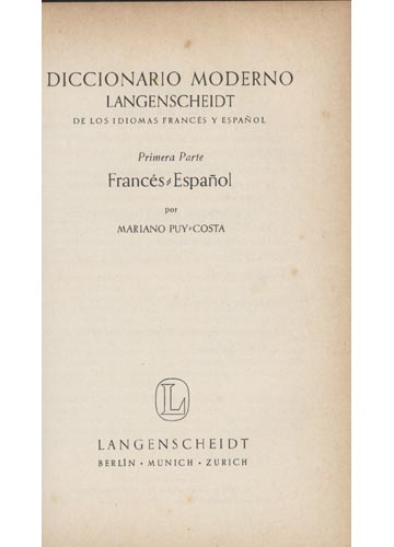 Diccionario Moderno Langenscheidt - Francés-Español / Español-Francés