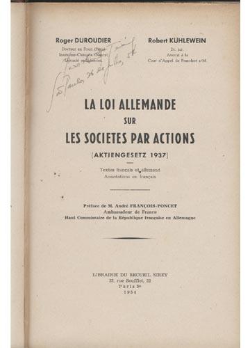 La Loi Allemande sur les Societes par Actions