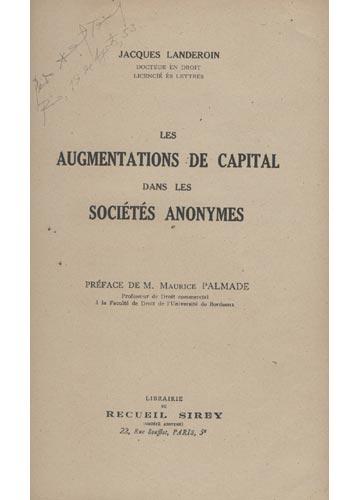 Les Augmentations de Capital dans les Sociétés Anonymes