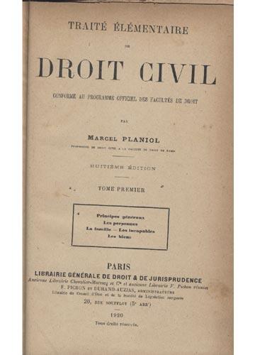 Droit Civil - Traité Élémentaire de Droit Civil - 3 Volumes