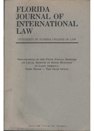 Florida Journal of International Law - Volume VII - - Nº.01 - Spring 1992