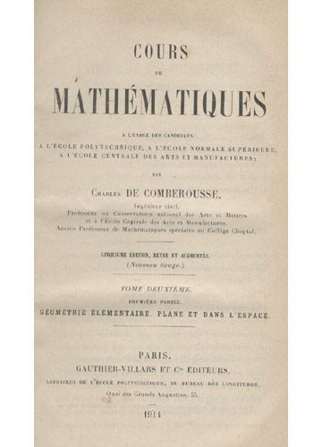 Cours de Mathématiques - Tome Deuxième