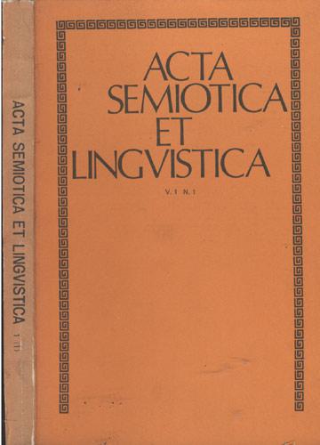 Acta Semiotica et Lingvistica - Volume 1 - Nº 1