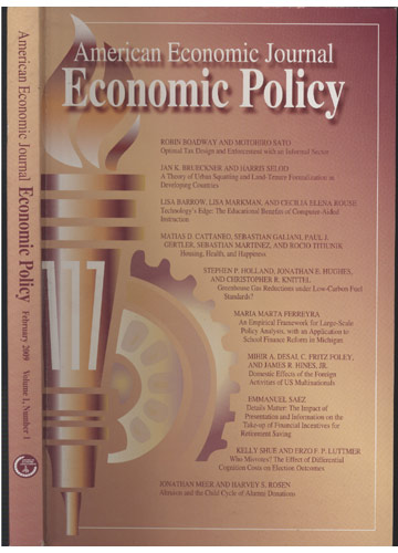 American Economic Journal - Economic Policy - February 2009 - Volume 1 - Nº 1
