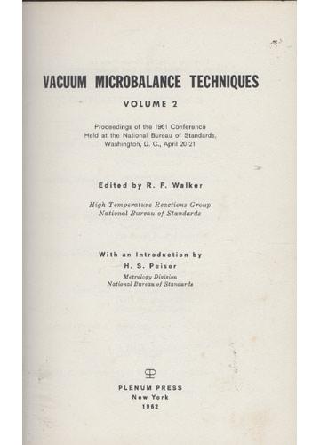 Vacum Microbalance Techniques - Volume 2