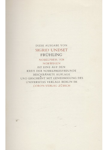 Frühling - Nobelpreis für Literatur 1928