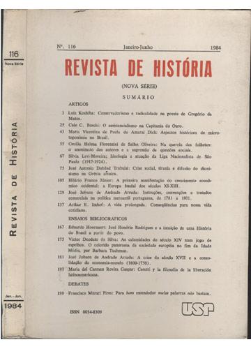 Revista de História -  Número 116 - Janeiro / Junho - 1984