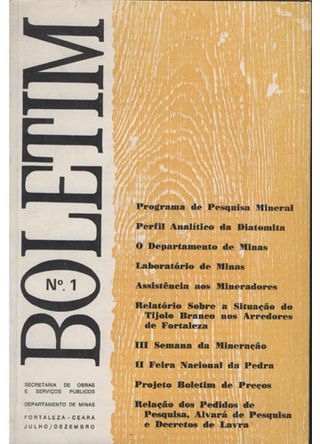 Boletim Nº.1 - Ano I - Fortaleza - Julho/Dezembro de 1973