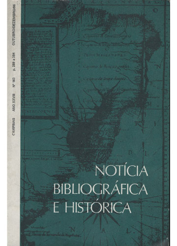 Notícia Bibliográfica e Histórica - Ano XXVIII - Nº 163
