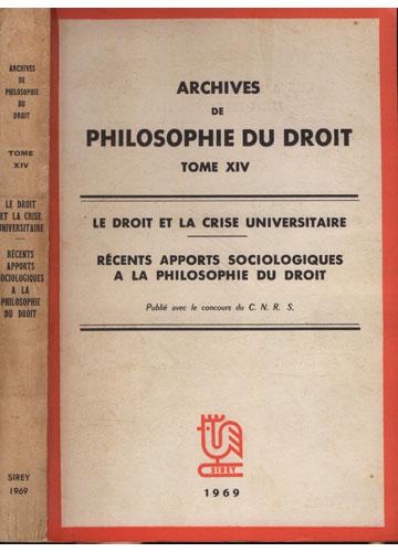 Archives de Philosophie du Droit - Tome XIV