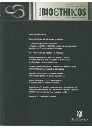Revista Bioethikos - Centro Universitário São Camilo - Volume 5 - Número 1 - Jan/Mar 2011