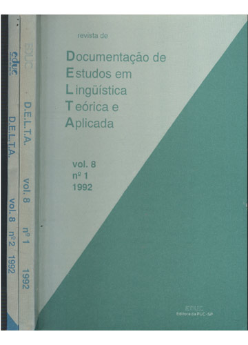 DELTA - Volume 8 - Nº. 1 e 2 - 1992 - 1 Volume 2 Tomos