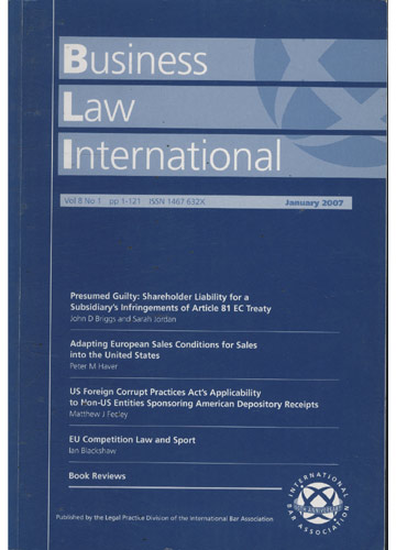 Business Law International - Volume 8 - N°.01 - Ja