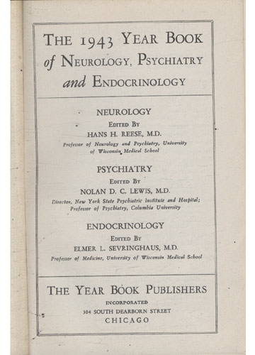 Year Book of Neurology Psychatry Endocrinology - 1943