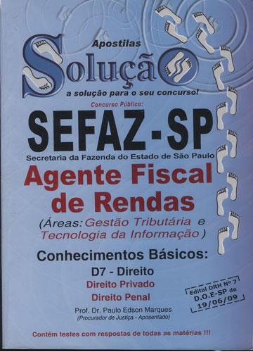 Apostilas Solução - Sefaz / SP - Agente Fiscal de Rendas