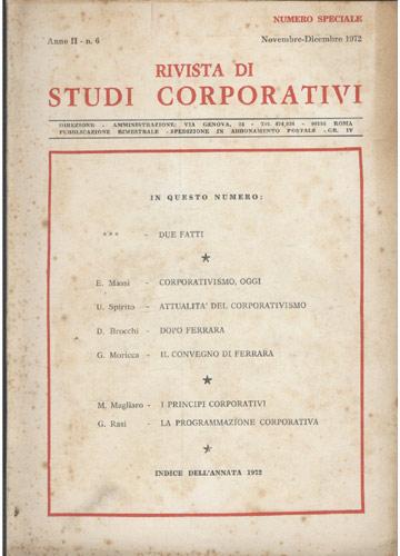 Rivista di Studi Corporativi - Anno II - N. 6