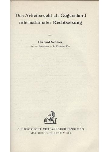 Das Arbeitsrecht Als Gegenstand Internationaler Rechtsetzung