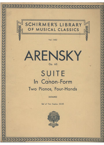 Arensky - Op. 65 - Suite In Canon-Form (Partituras Piano)