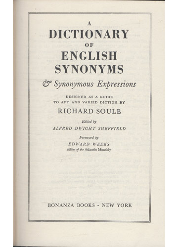 Soul'es Dictionary of English Synonyns