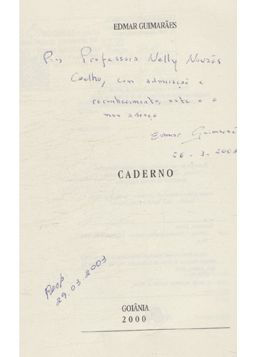 Caderno - Com dedicatória do autor