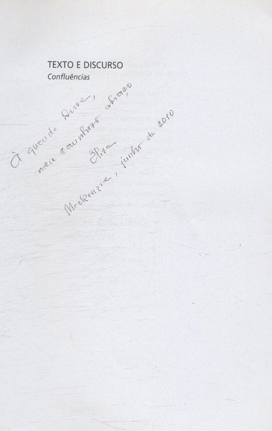 Texto e Discurso - Com Dedicatória da Autora