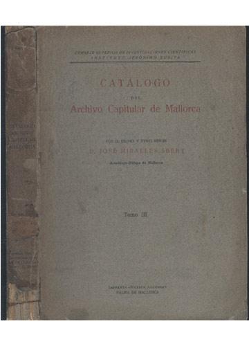 Catálogo del Archivo Capitular de Mallorca - Tomo III