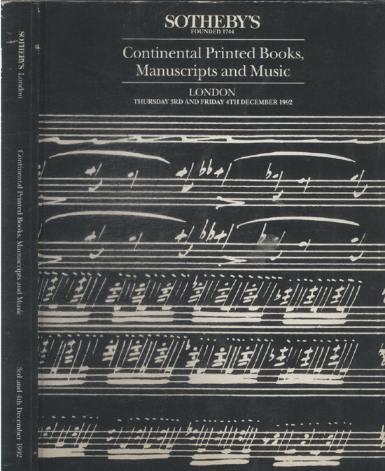 Sotheby's London - Continental Printed Books - Manuscripts and Music