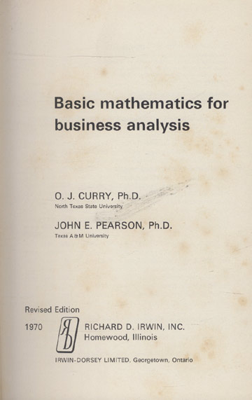 Basic Mathematics For Business Analysis