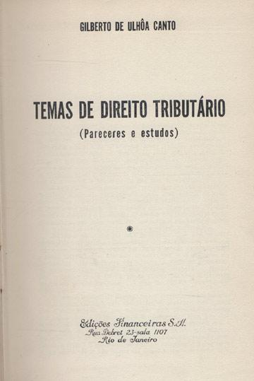 Temas de Direito Tributário