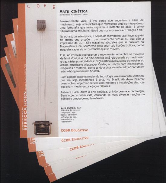 Rebecca Horn - Rebelião em Silêncio - Caderno de Mediação - Em Formato de Pranchas - Com 10 Pranchas Soltas
