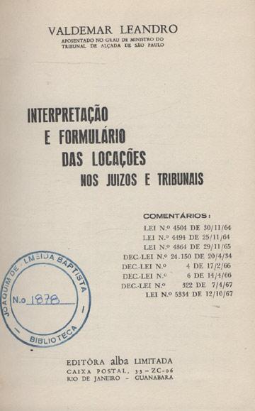 Interpretação e Formulário das Localizações nos Juizos e Tribunais