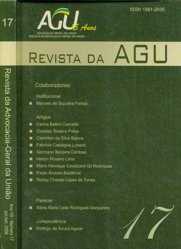 Revista da Advocacia-Geral da União - Ano VII - Nº. 17 jul/set 2008