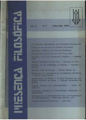 Presença Filosófica - Volume V - N.º 3 - Jul/Set 1979