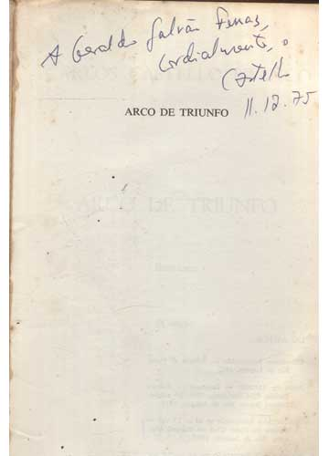 Arco de Triunfo - Com Dedicatória do Autor