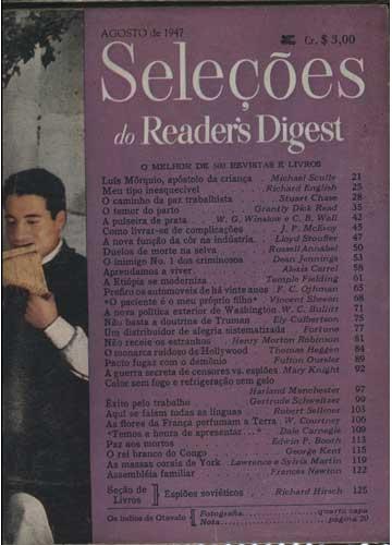 Seleções do Reader's Digest - Ano 1947 - Agosto - Nº.67 - Tomo XII