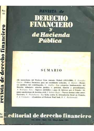 Revista de Derecho Financiero Y de Hacienda Pública - N°. 153 - Vol. XXXI