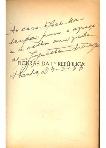 Figuras da 1ª República - Com Dedicatória do Autor