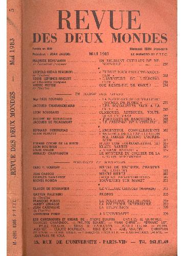 Revue Des Deux Mondes - Mai 1983